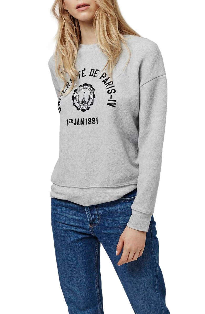 24bf59f6d Topshop 'Université de Paris' Brushed Sweatshirt (Petite) | Nordstrom