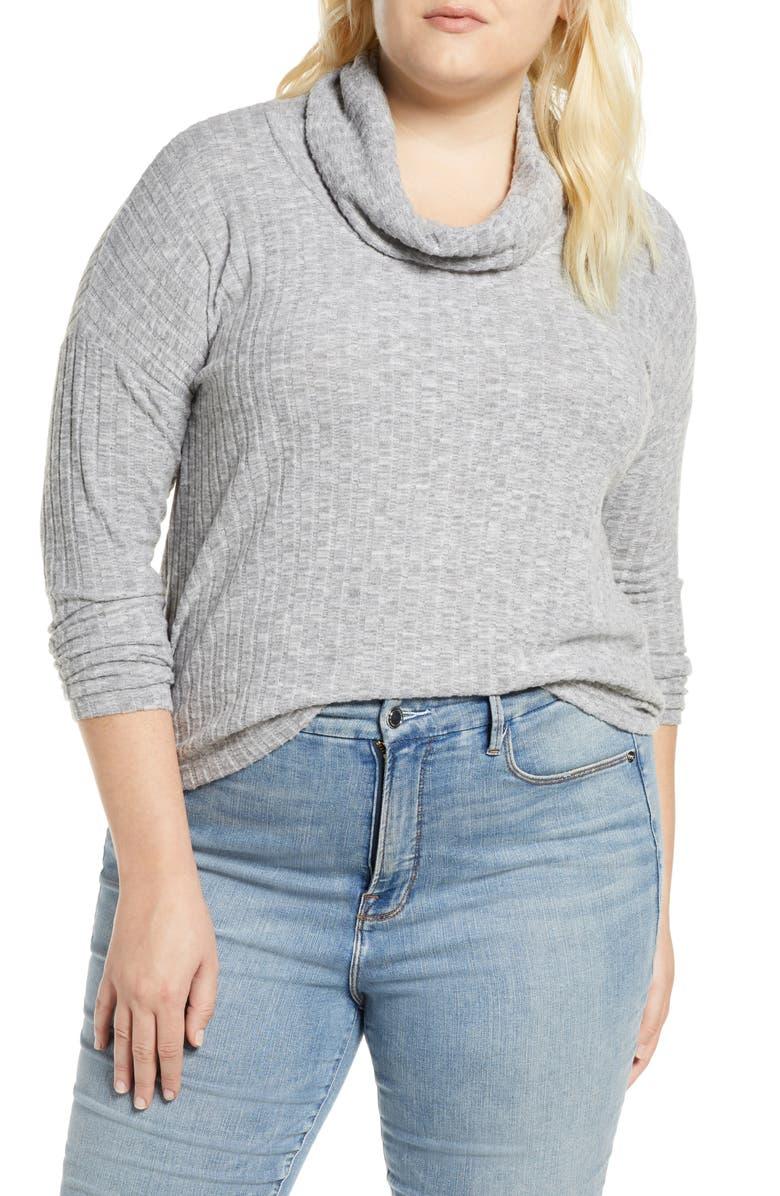 BP. Cozy Ribbed Turtleneck Pullover, Main, color, GREY MEDIUM HEATHER