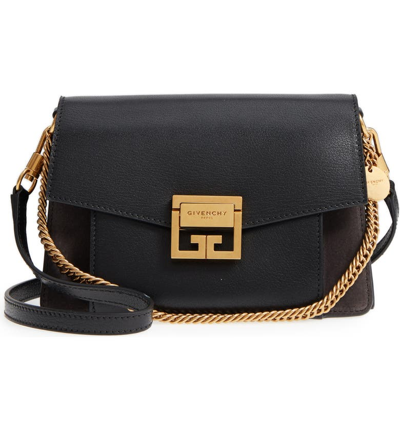 GIVENCHY Small GV3 Leather & Suede Crossbody Bag, Main, color, BLACK/ GREY