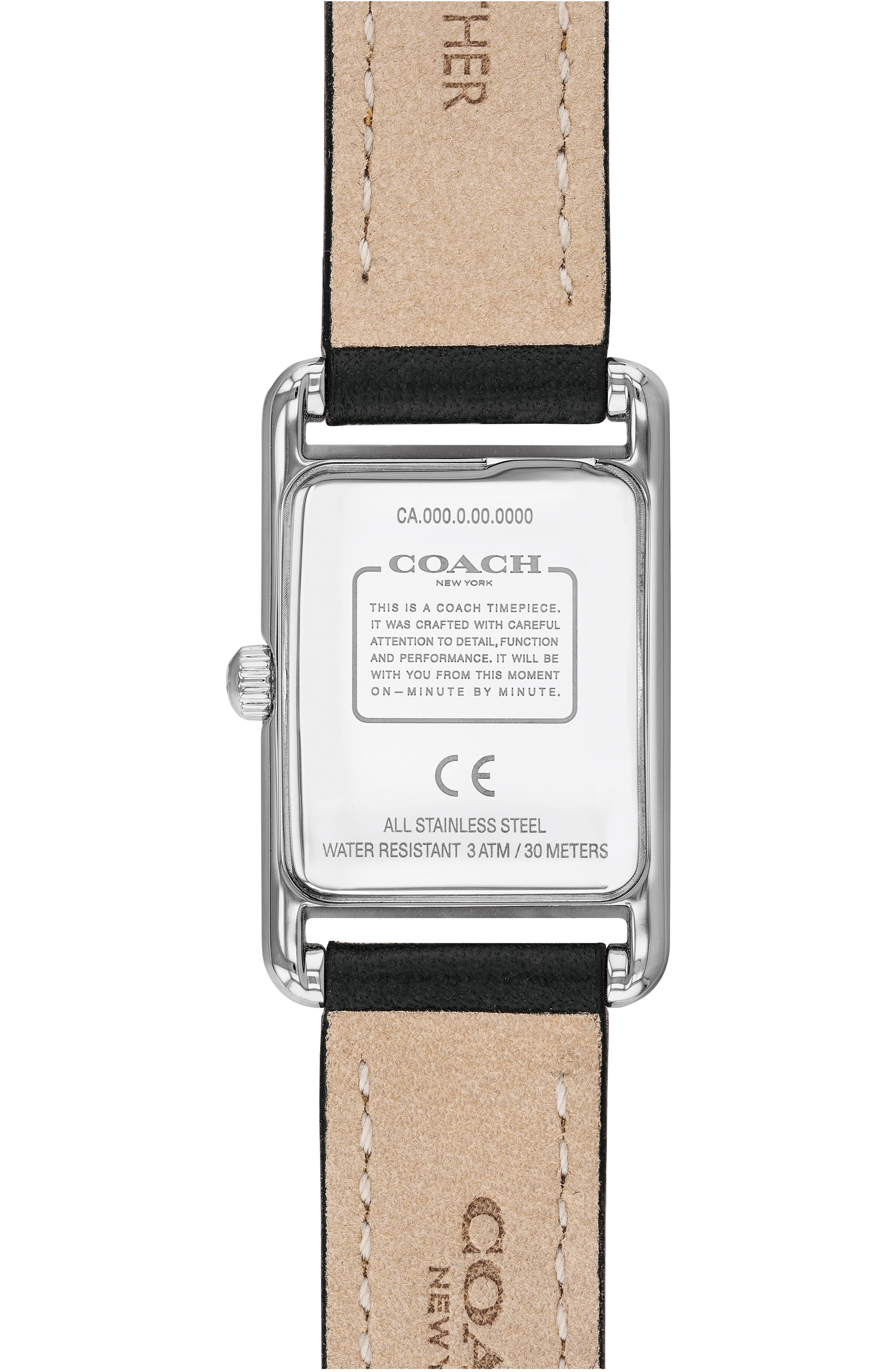 ,                             Allie Leather Strap Watch, 22mm,                             Alternate thumbnail 2, color,                             BLACK/ WHITE/ SILVER