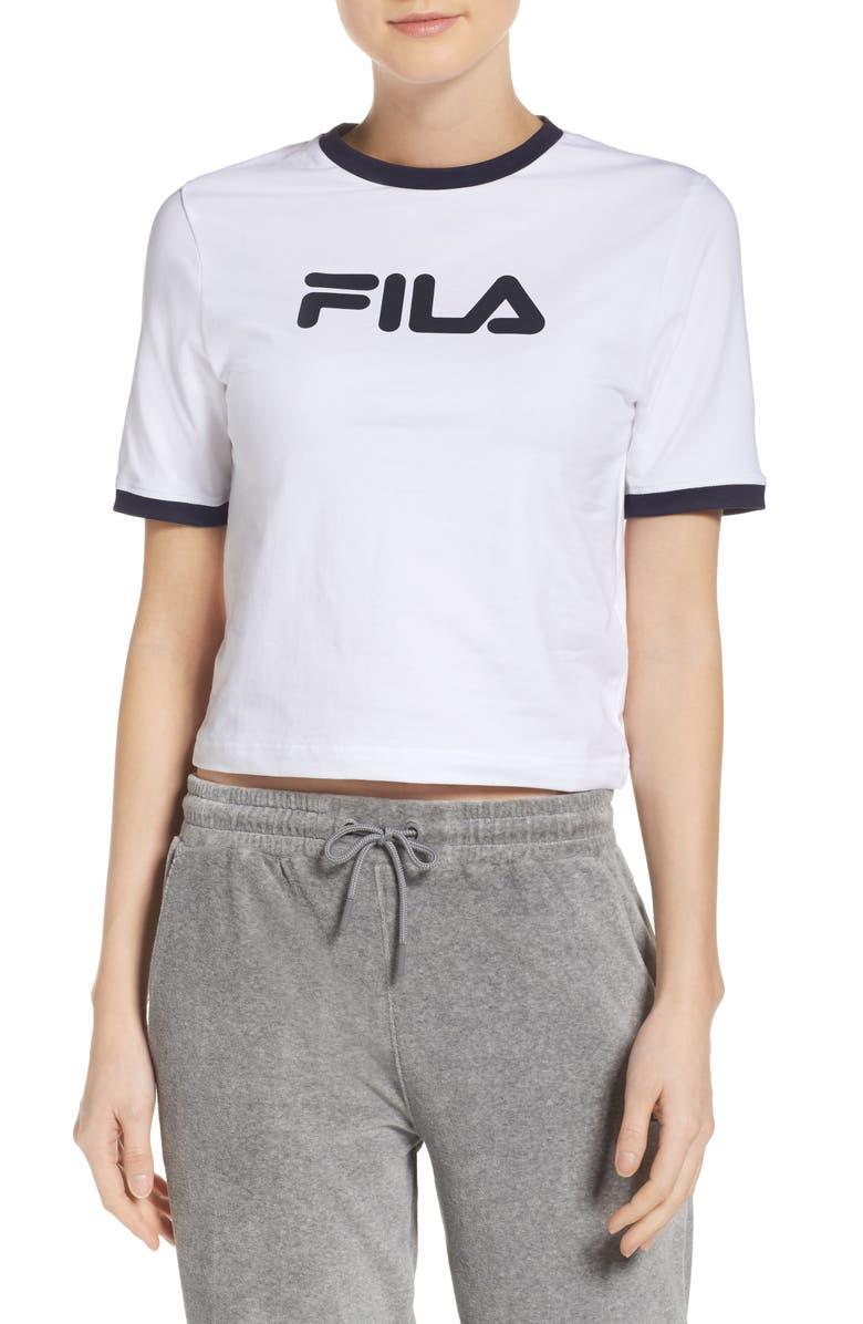 FILA Tionne Logo Crop Tee, Main, color, WHITE/ PEACOAT