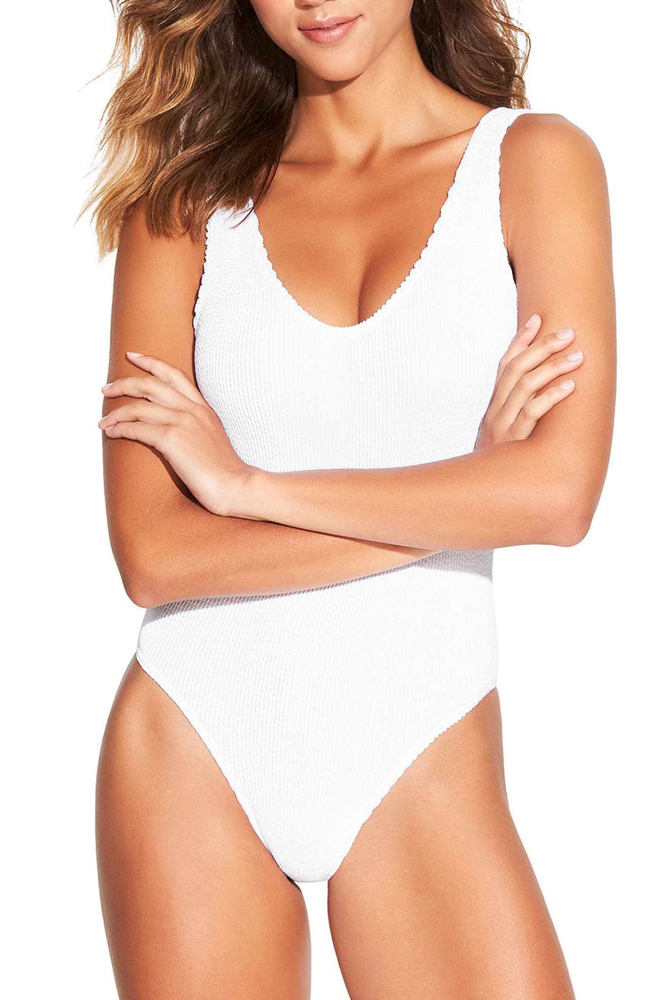 Bound By Bond-Eye The Mara Ribbed One-Piece Swimsuit, Size One Size - White