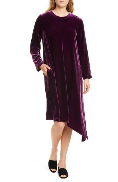 Eileen Fisher Dresses ASYMMETRICAL HEM VELVET LONG SLEEVE T-SHIRT DRESS