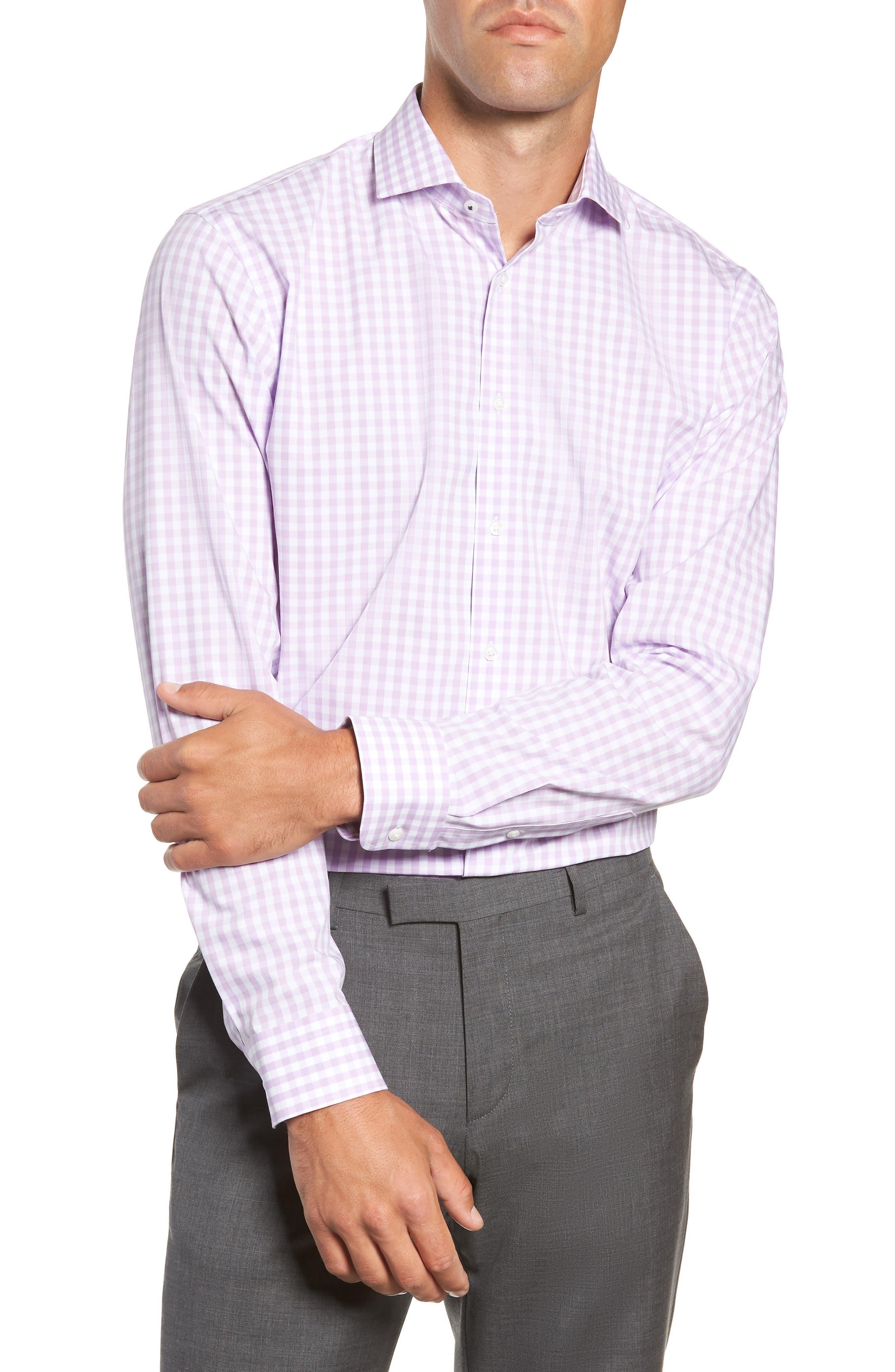 ,                             Tech-Smart Trim Fit Stretch Check Dress Shirt,                             Main thumbnail 45, color,                             530