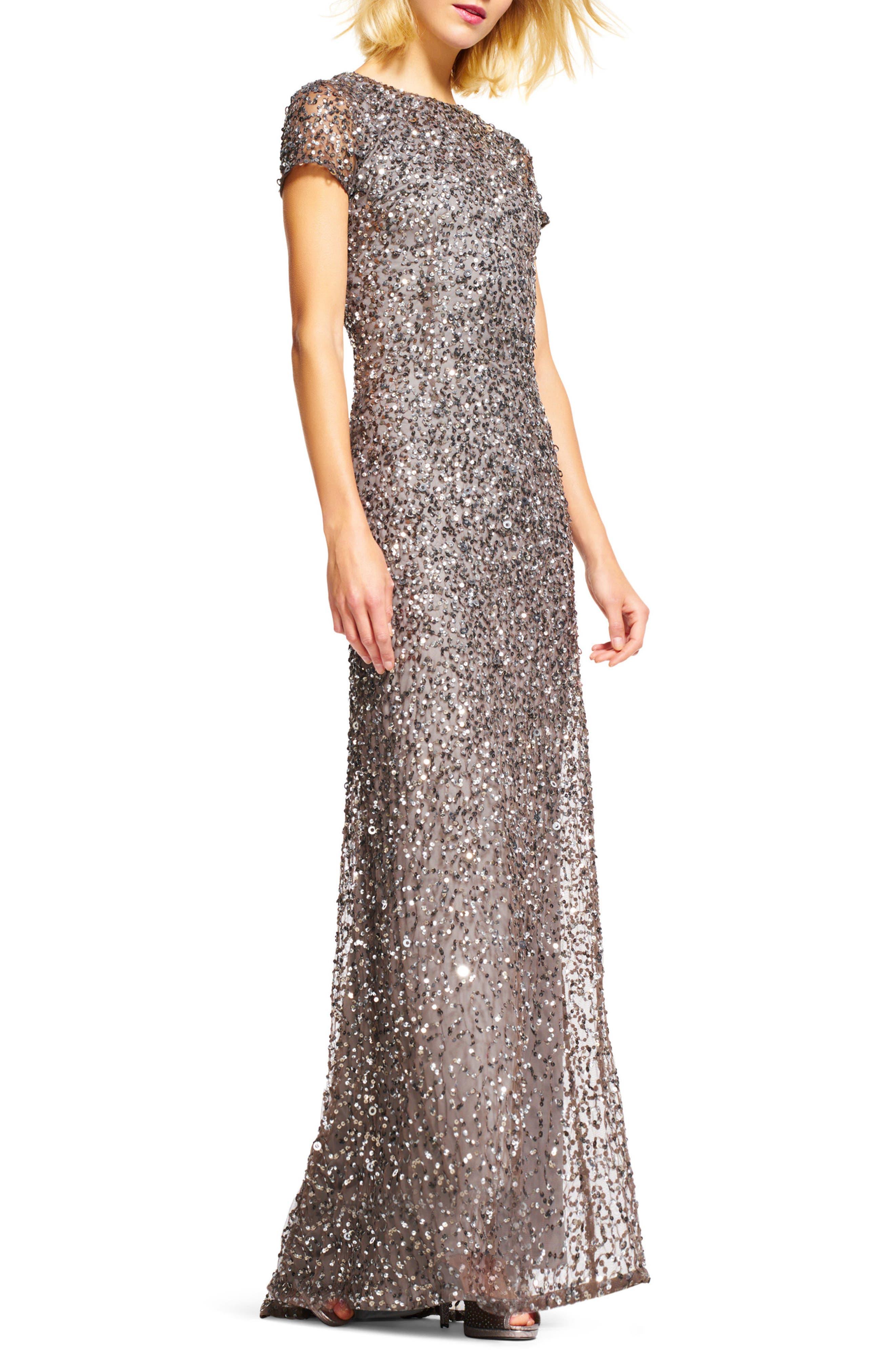 ,                             Short Sleeve Sequin Mesh Gown,                             Alternate thumbnail 9, color,                             040