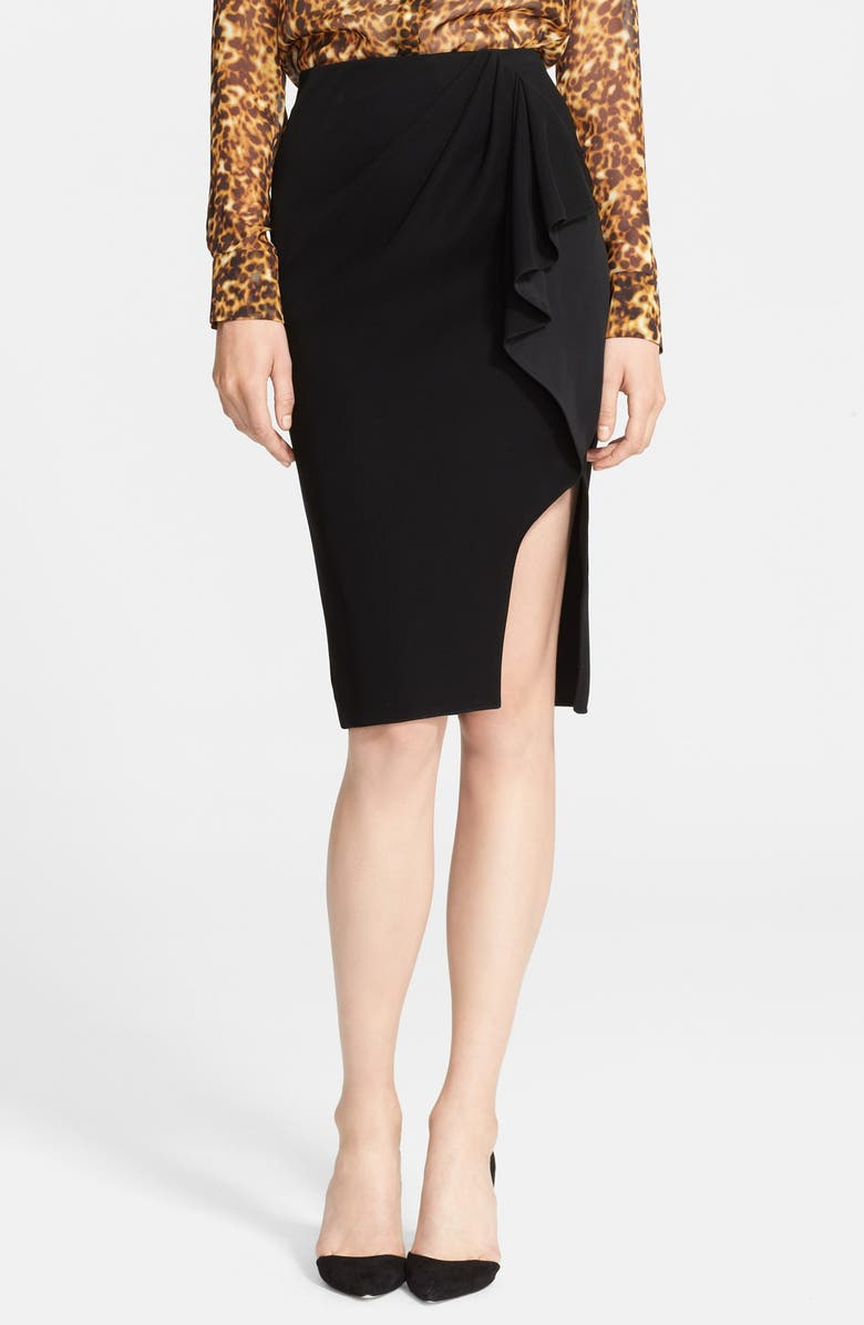 ALTUZARRA Ruffle Detail Wrap Skirt, Main, color, 001