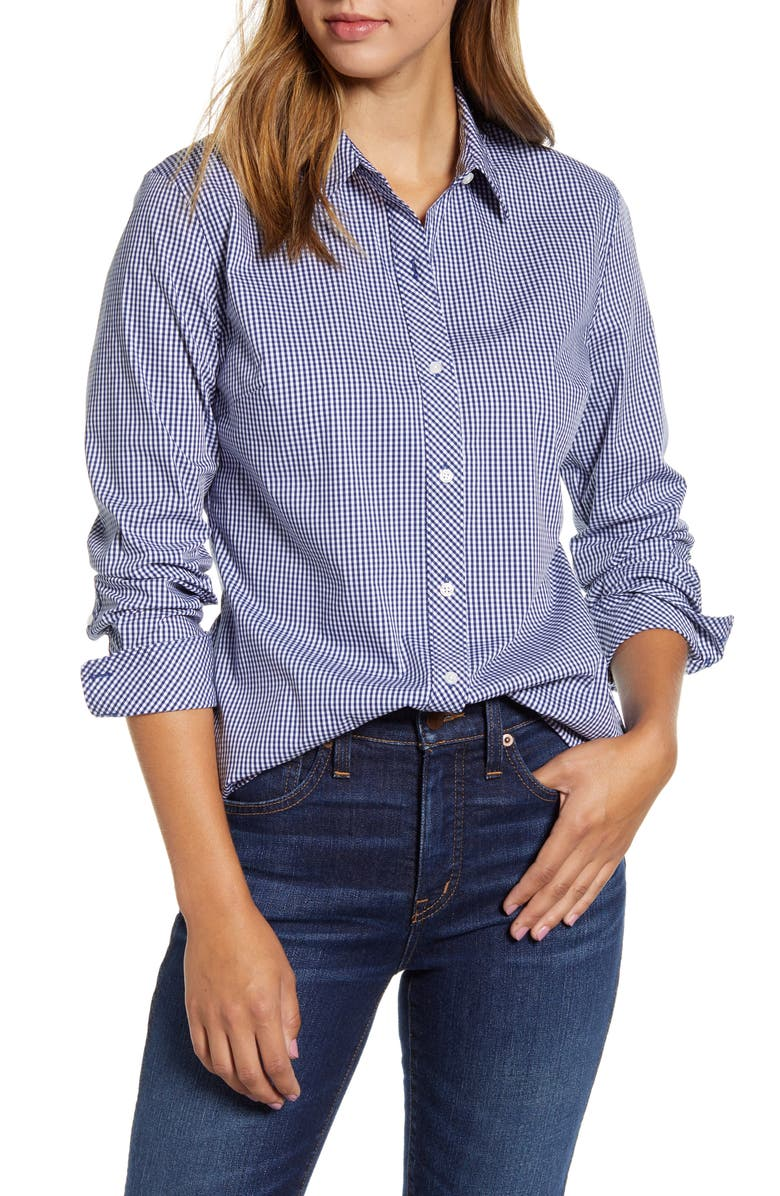 1901 Gingham Classic Shirt, Main, color, NAVY- WHITE GINGHAM