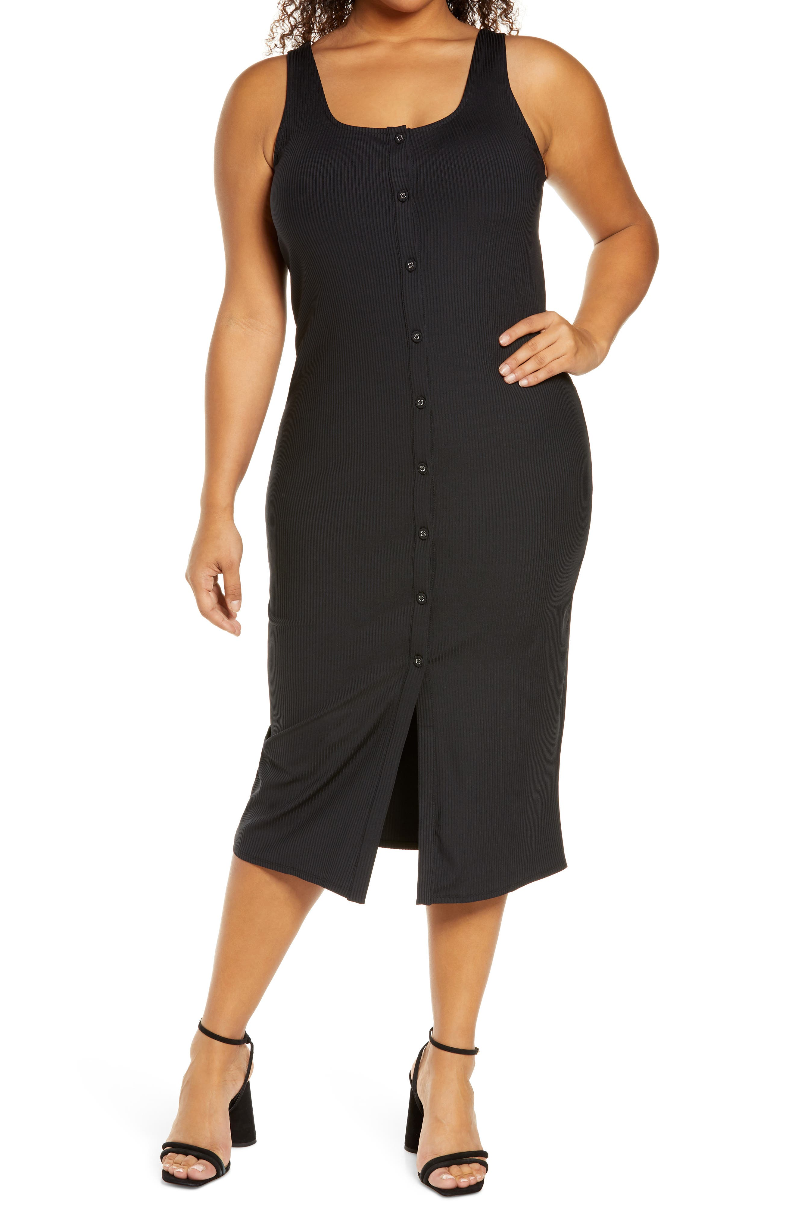 Sleeveless Button Front Sweater Dress