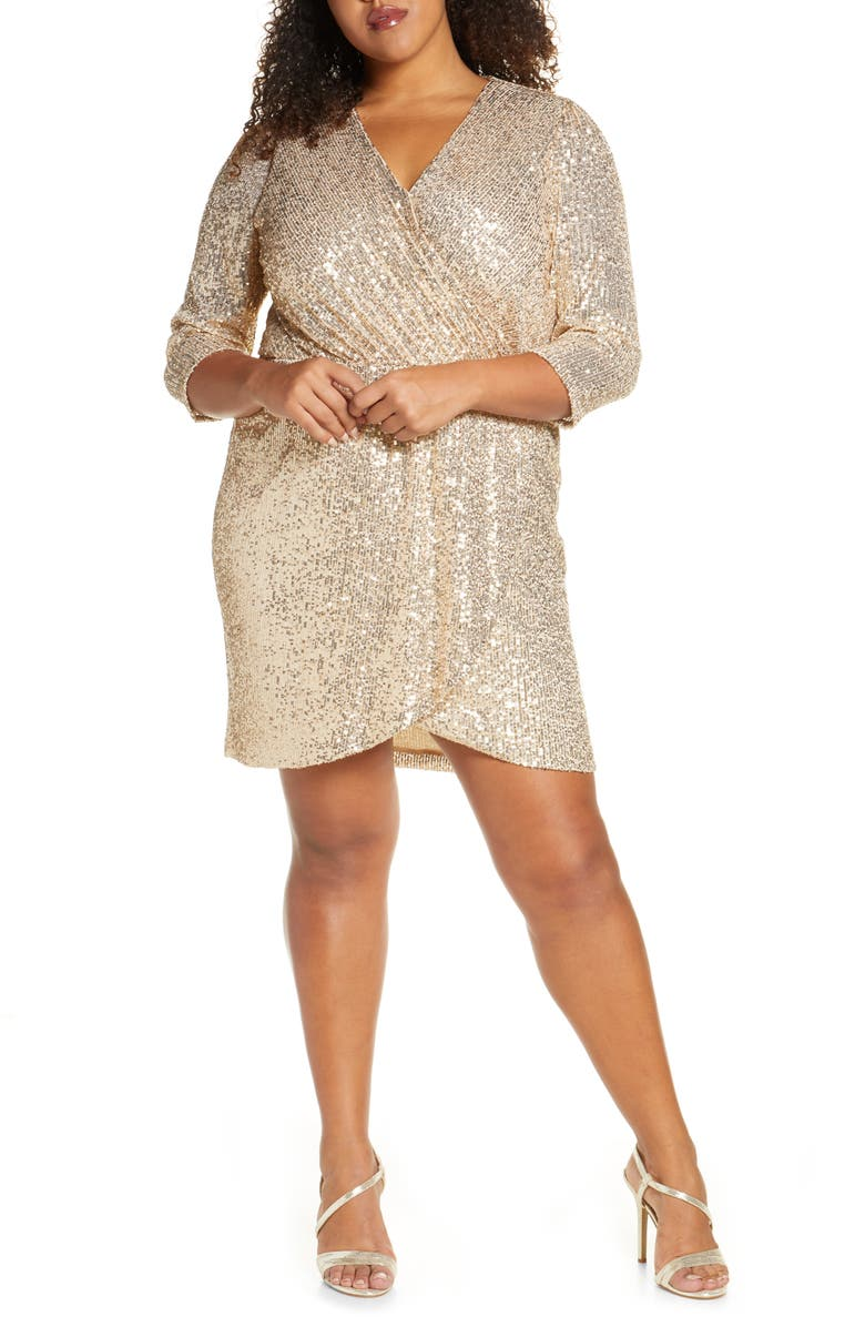 GIBSON x Glam The Motherchic Sequin Faux Wrap Holiday Dress, Main, color, 900