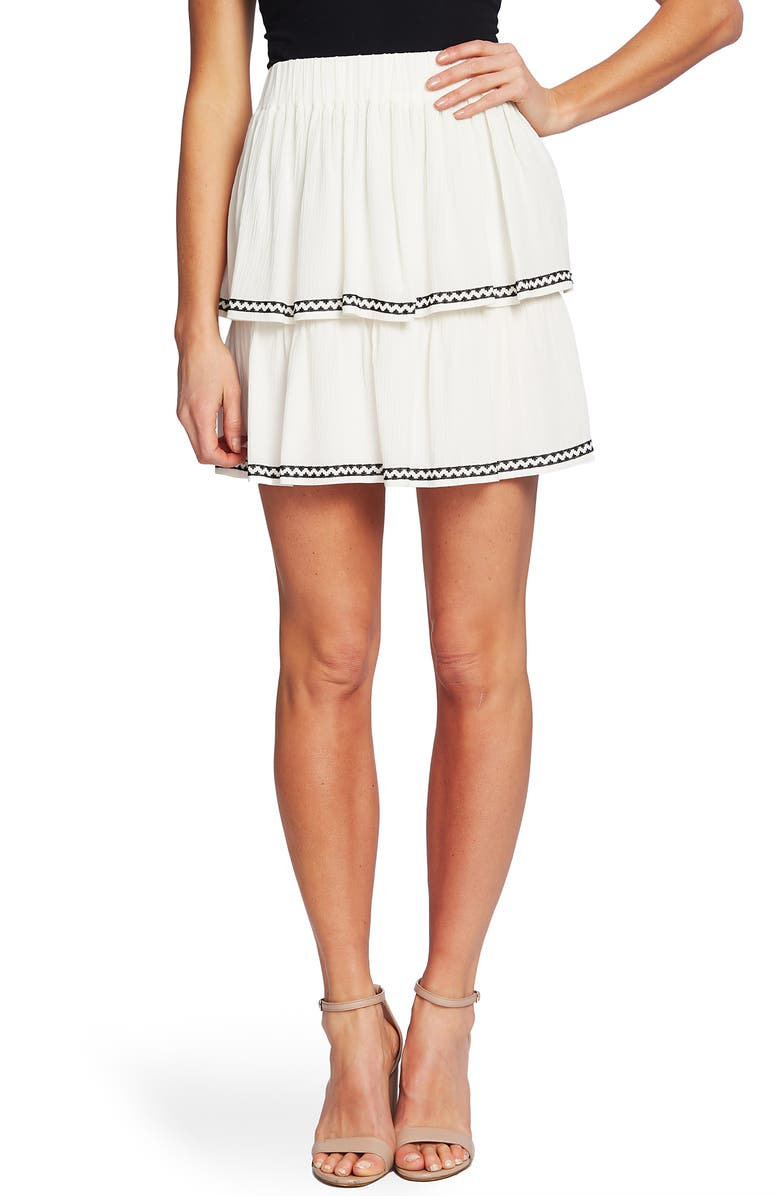 CECE Tiered Ruffle Embroidered Skirt, Main, color, SOFT ECRU