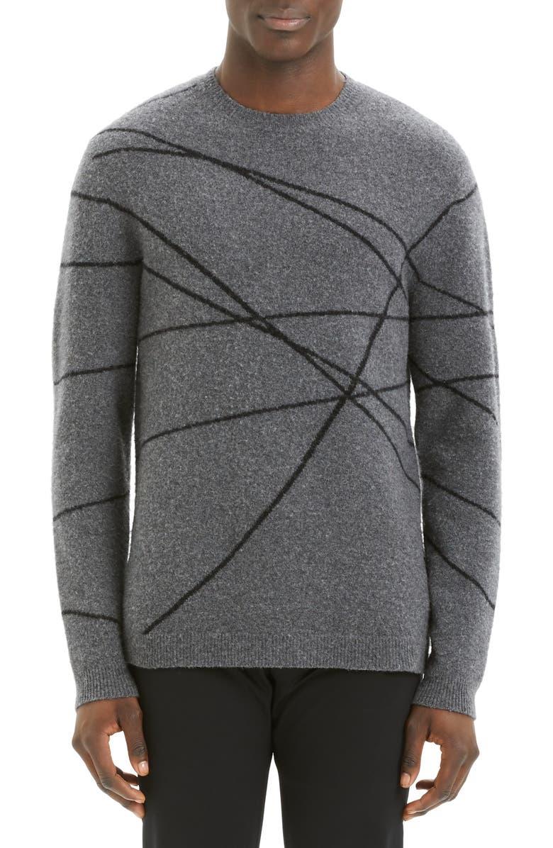 THEORY Aris Wizard Regular Fit Crewneck Sweater, Main, color, BLACK MULTI
