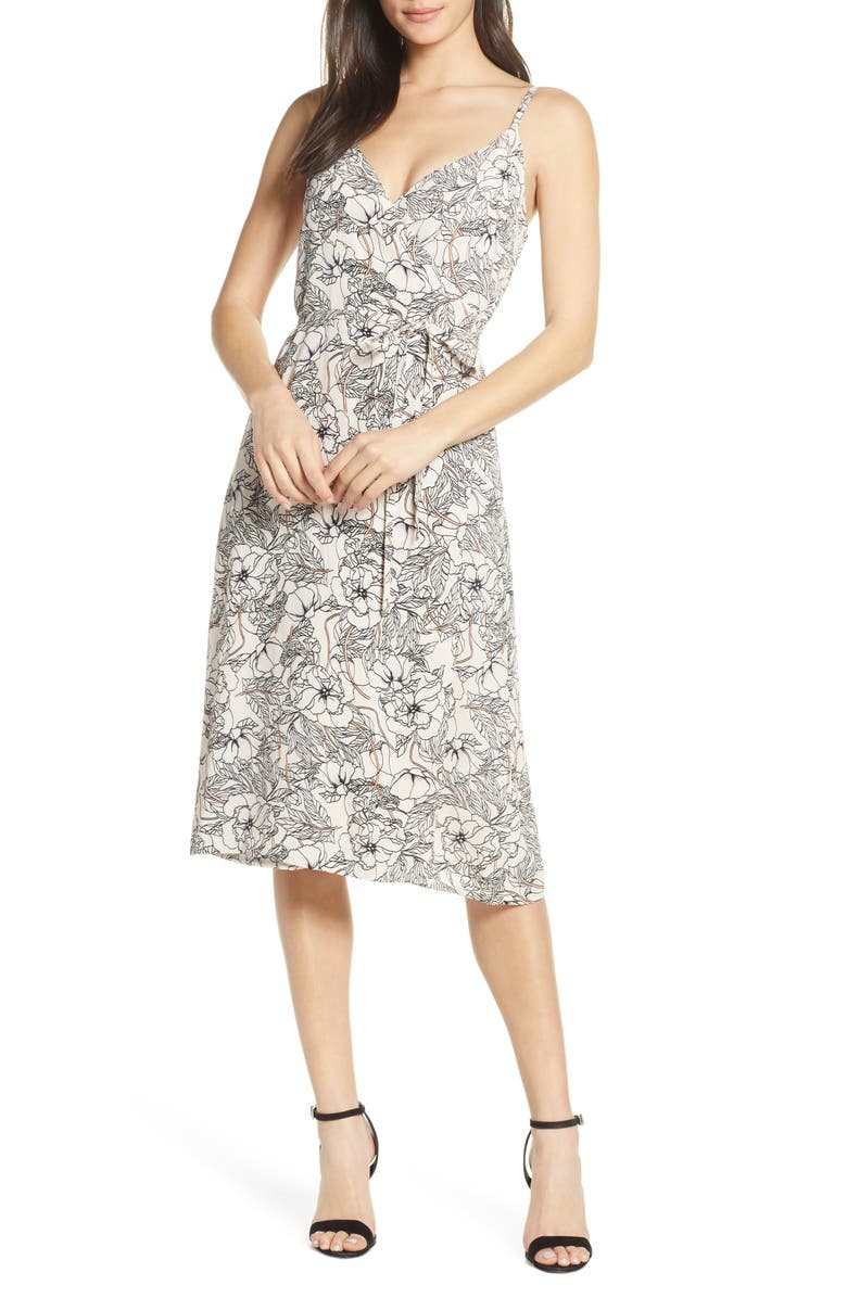 ELIZABETH CROSBY Margo Wrap Dress, Main, color, BLUSH FLORAL PRINT