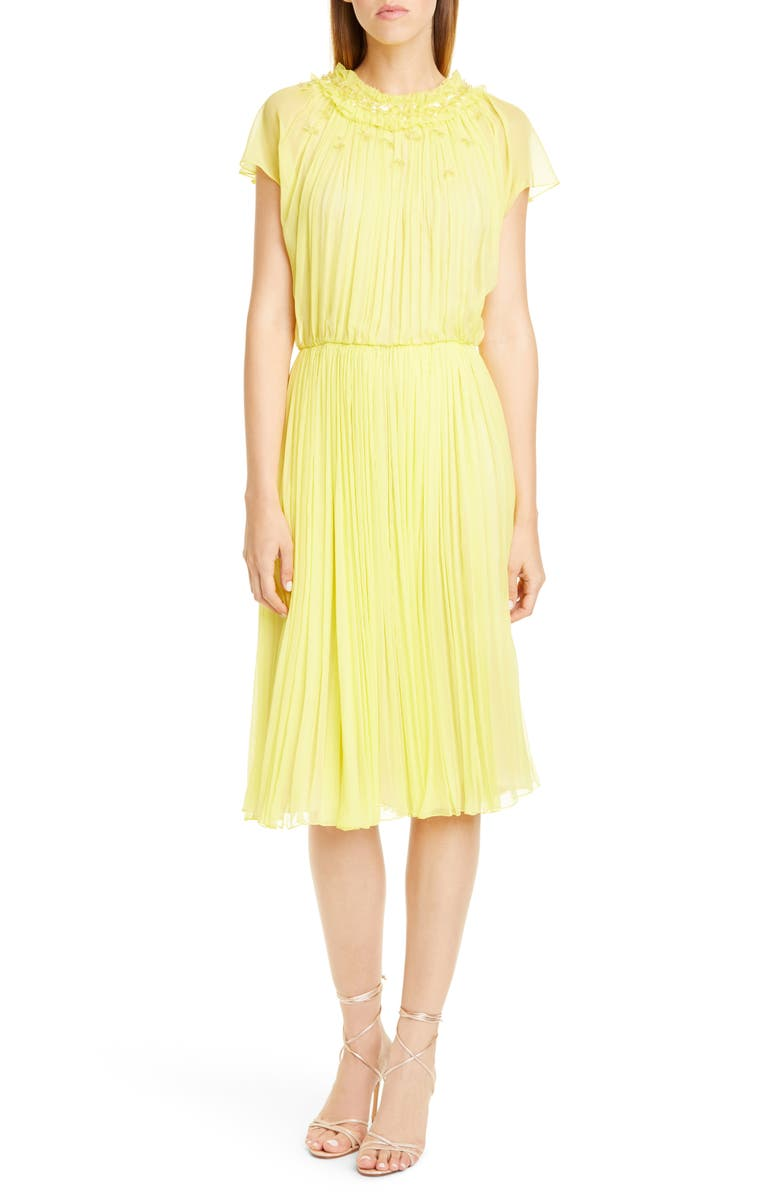 JASON WU COLLECTION Embellished Crinkle Silk Chiffon Dress, Main, color, LEMON
