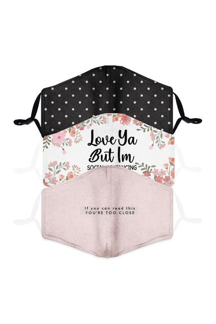 Image of FASHION MASKS Reusable Fashion Adult Face Mask - Pack of 3 - Quote & Polka Dots