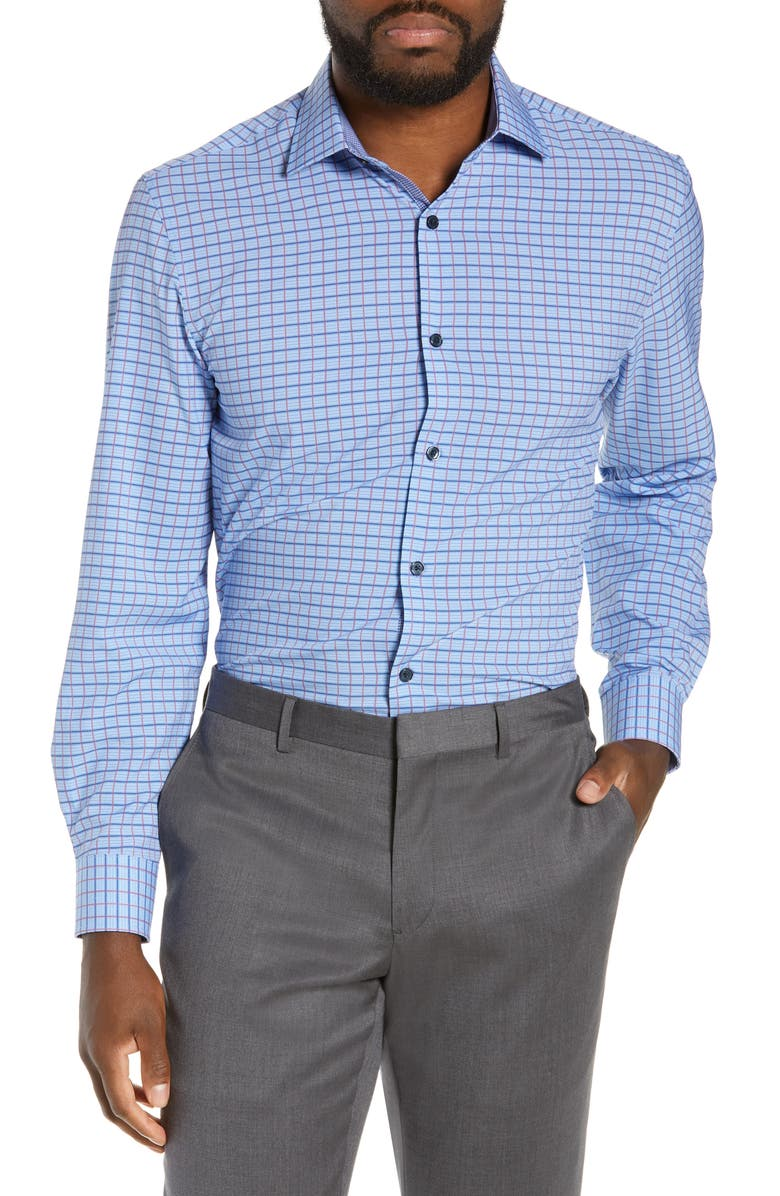 W.R.K Slim Fit Check Performance Dress Shirt, Main, color, BLUE