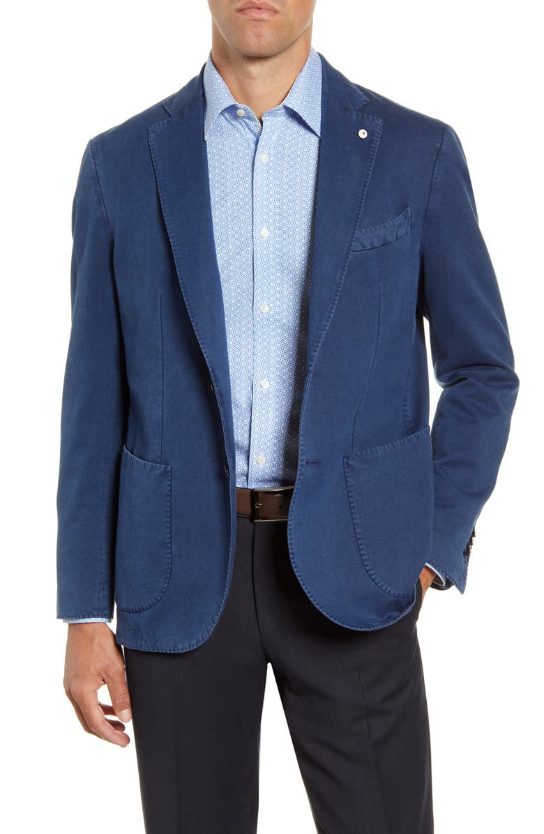 L.B.M. 1911 Trim Fit Solid Cotton Sport Coat, Main, color, BLUE