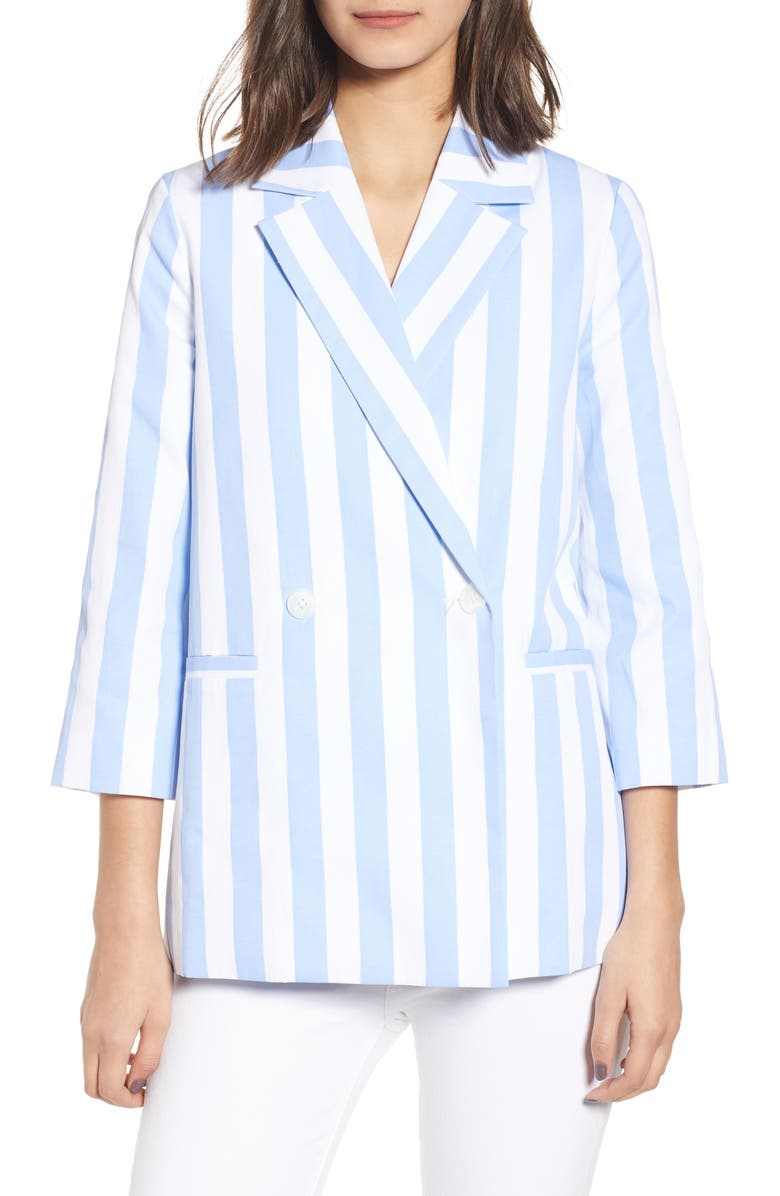 ENGLISH FACTORY Stripe Blazer, Main, color, BLUE