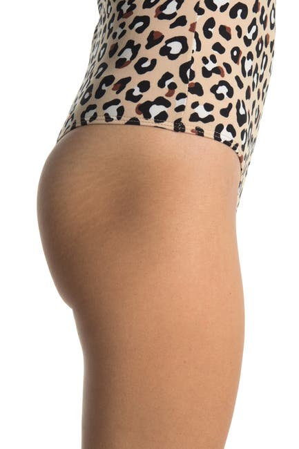 Image of dee elly Sleeveless Knit Leopard Print Bodysuit