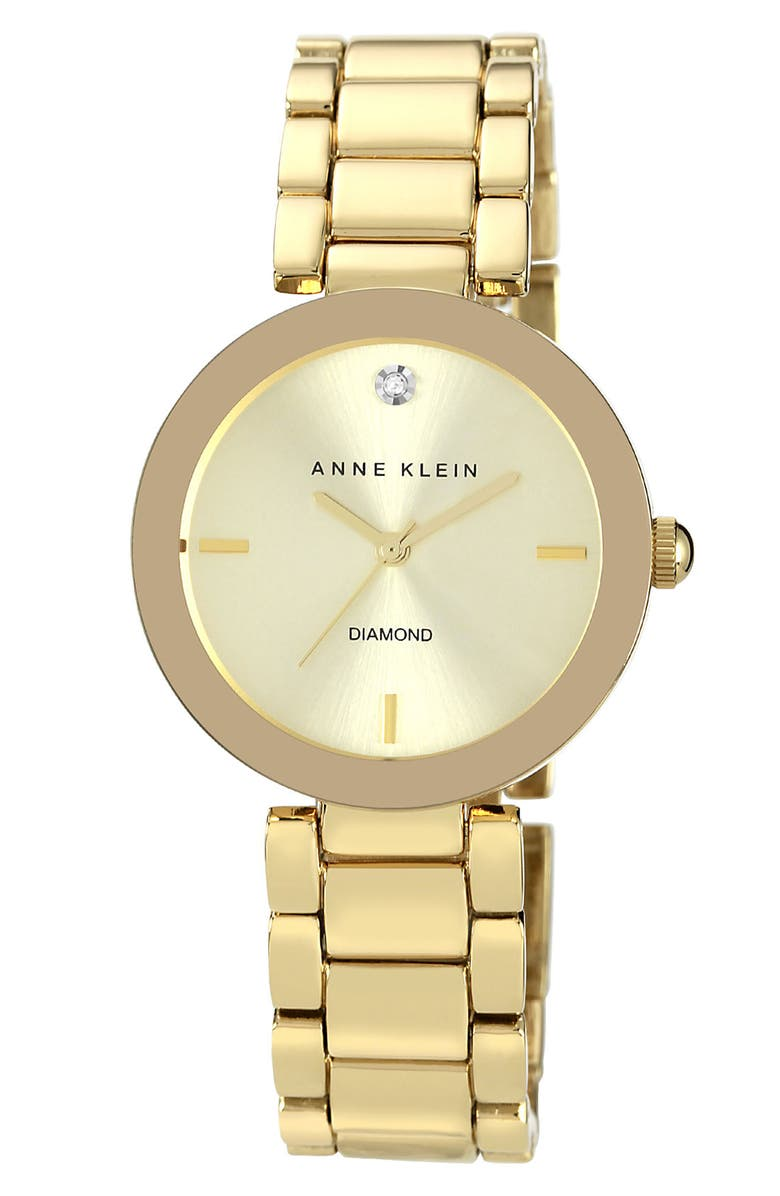 ANNE KLEIN Mirror Bezel Bracelet Watch, 32mm, Main, color, 710