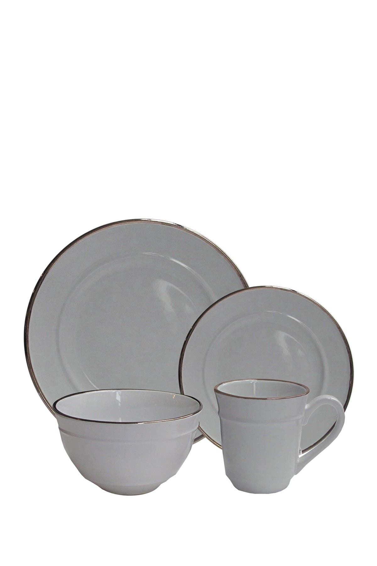 Image of Jay Import Lucienne Gray Stoneware 16-Piece Dinnerware Set