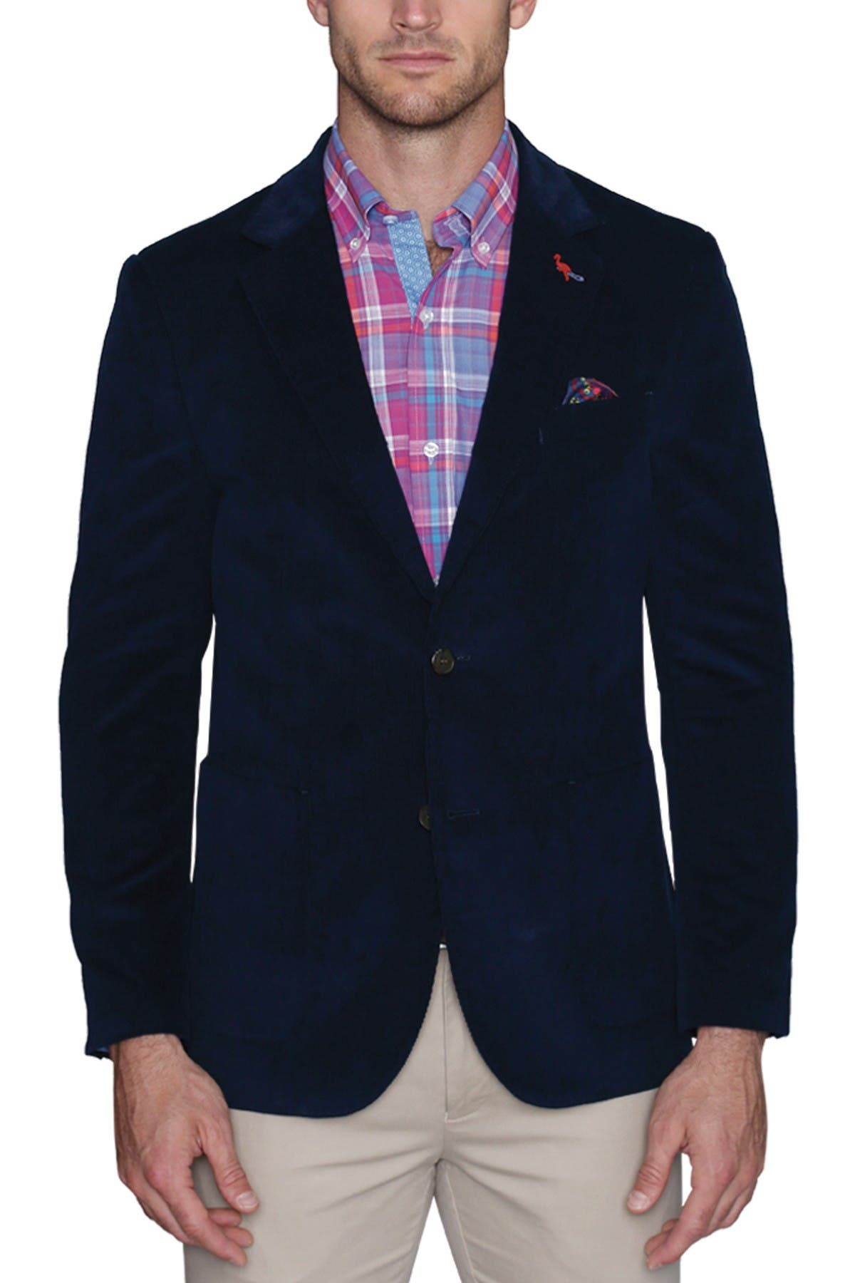 Image of TailorByrd Classic Solid Corduroy Two Button Notch Lapel Modern Fit Sport Coat