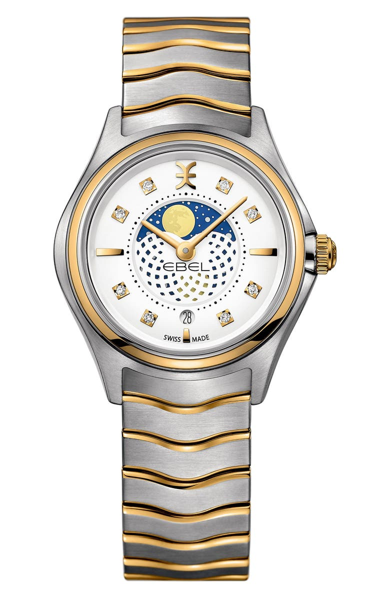 EBEL Moonphase Wave Bracelet Watch, 30mm, Main, color, SILVER/ WHITE/ GOLD