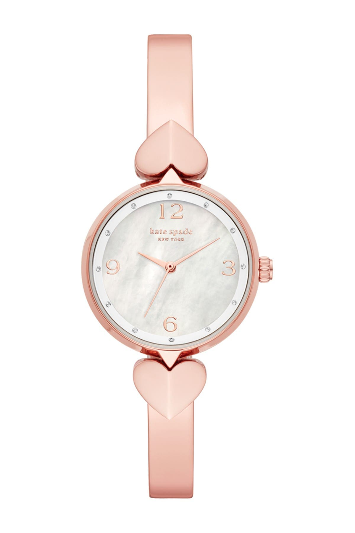 Image of kate spade new york women's hollis three-hand rose gold-tone stainless steel bangle watch, 30mm