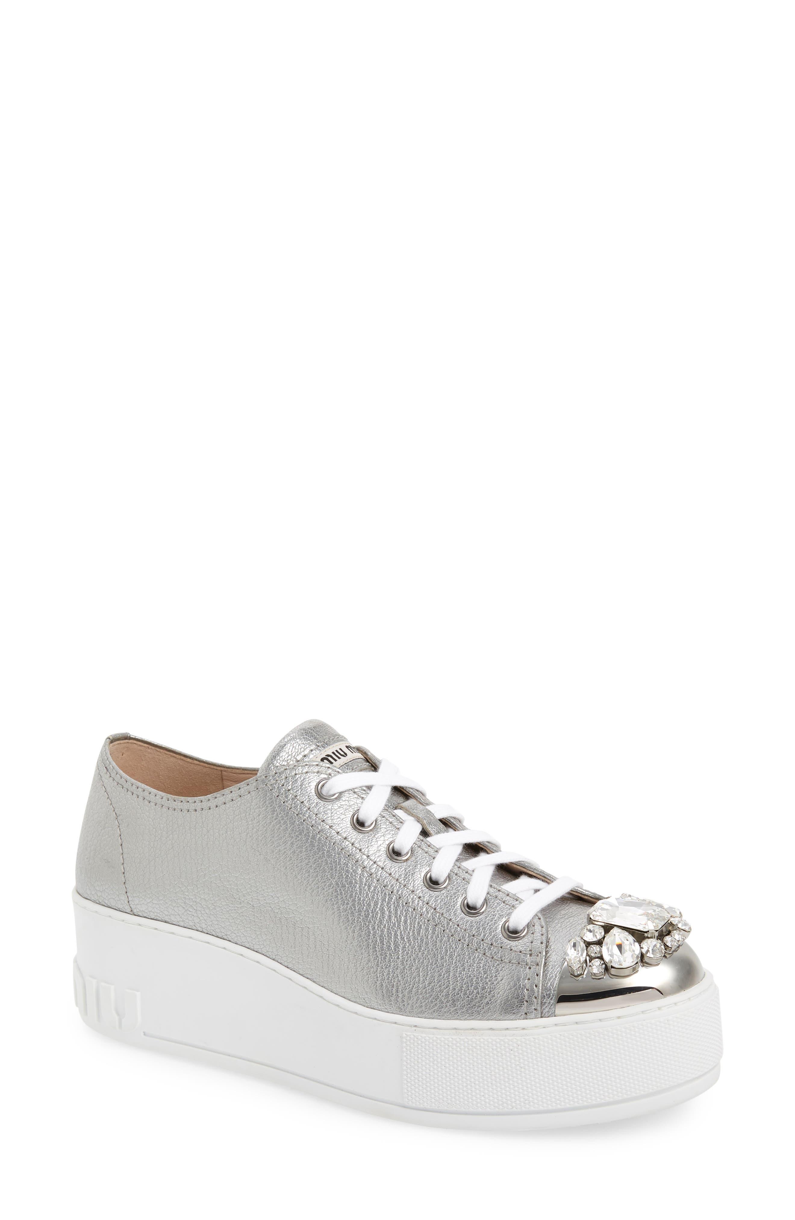 Miu Miu Crystal Cap Toe Sneaker, Metallic