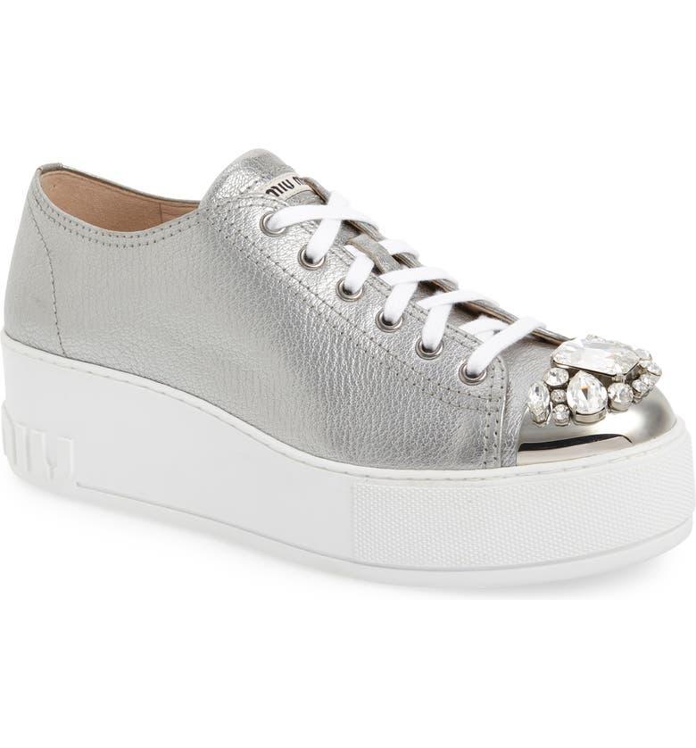 MIU MIU Crystal Cap Toe Sneaker, Main, color, SILVER