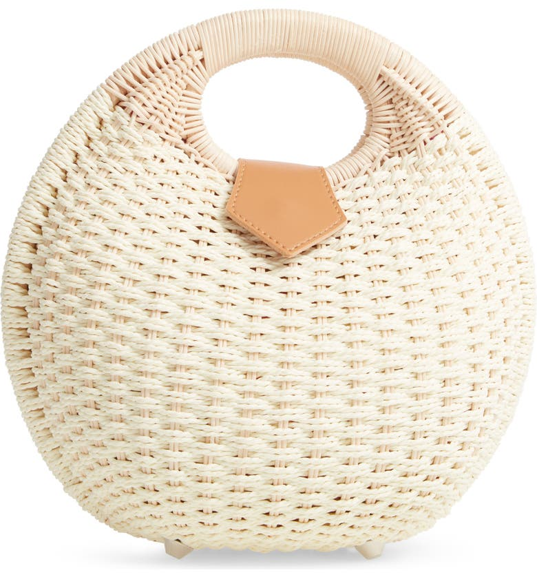 MALI + LILI Chloe Woven Canteen Handbag, Main, color, BLUSH/ NATURAL