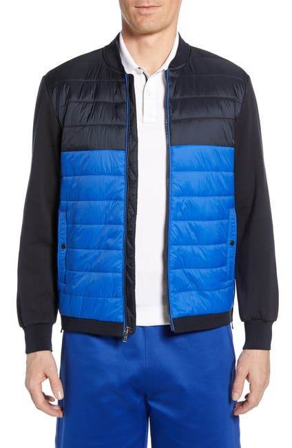 Image of Bugatchi Quilted Colorblock Bomber Jacket