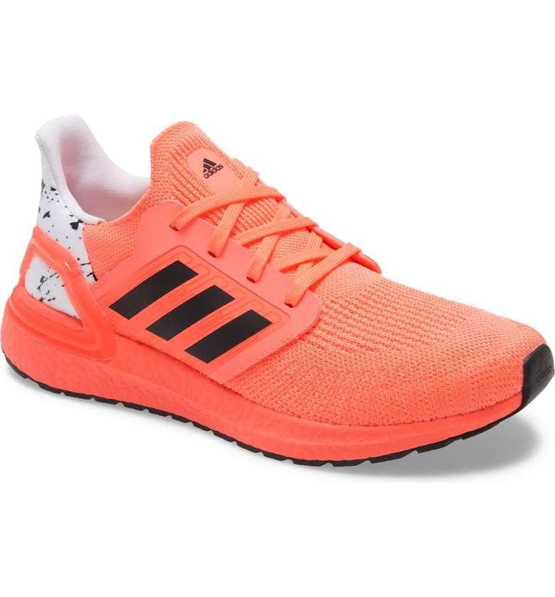 ADIDAS UltraBoost 20 J Running Shoe, Main, color, SIGNAL CORAL/ BLACK/ WHITE