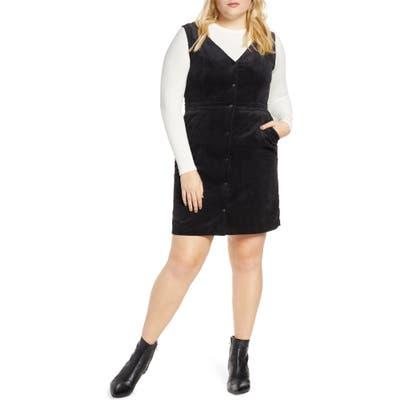 Plus Size Vero Moda Ayoe Corduroy Jumper Dress, 4 - Black