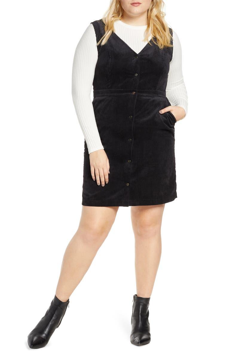 VERO MODA Ayoe Corduroy Jumper Dress, Main, color, BLACK