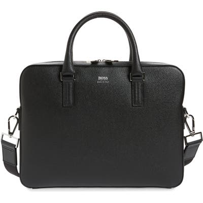 Boss Signature Slim Leather Briefcase - Black