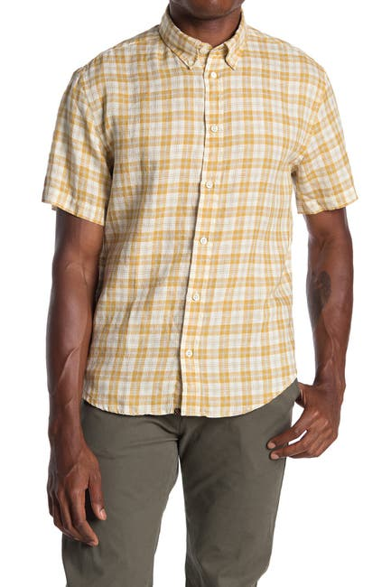Image of Billy Reid Murphy Plaid Short Sleeve Slim Fit Linen Shirt