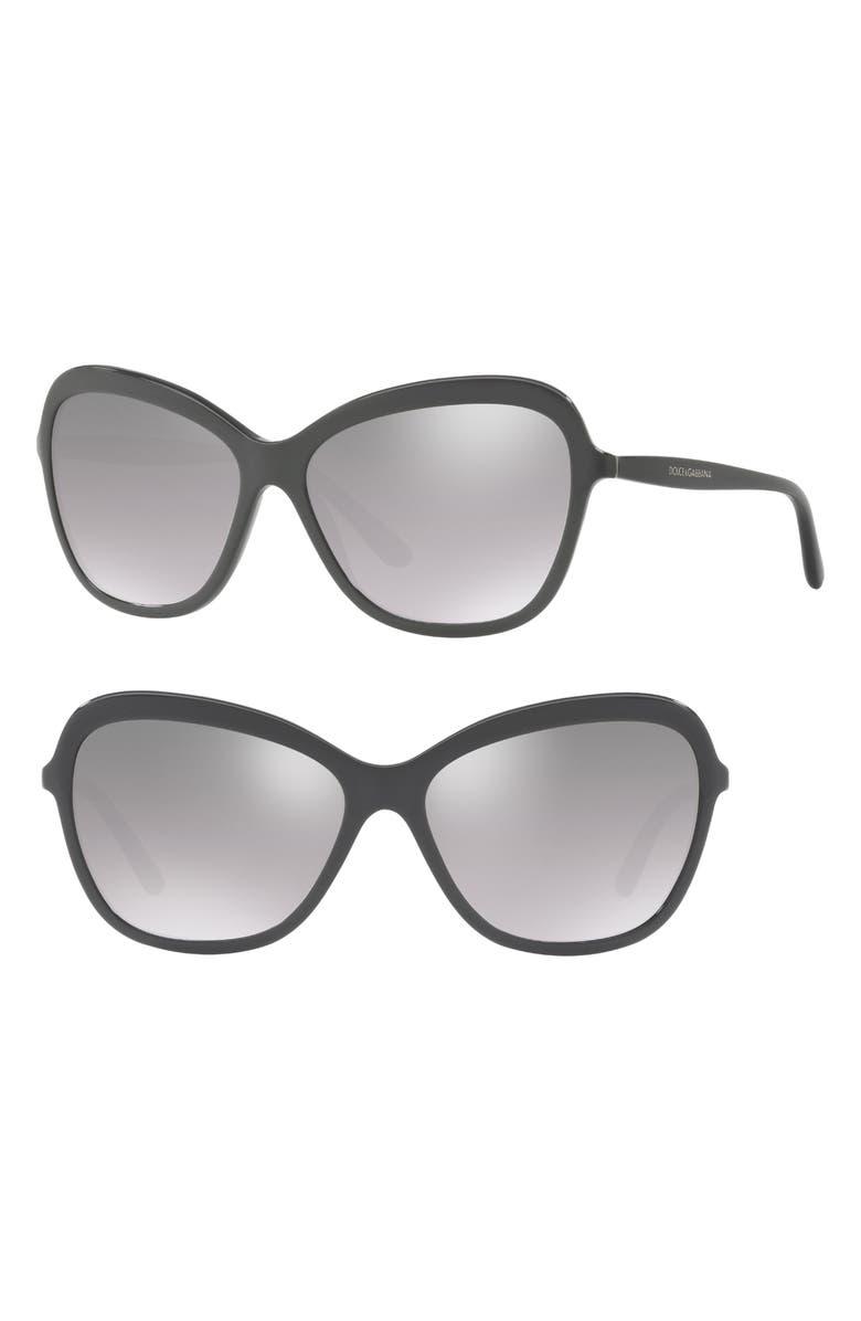 DOLCE&GABBANA 59mm Gradient Mirrored Sunglasses, Main, color, GREY
