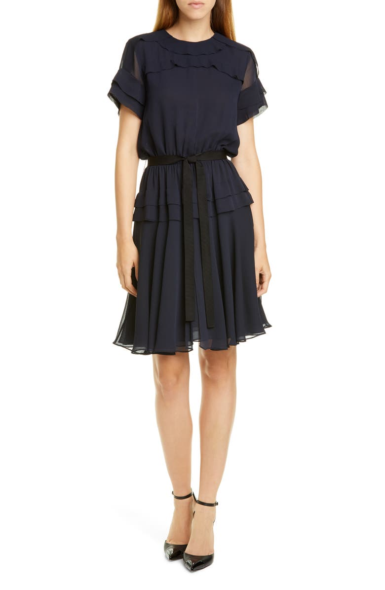 JASON WU Ruffle Crinkled Chiffon Dress, Main, color, DARK NAVY