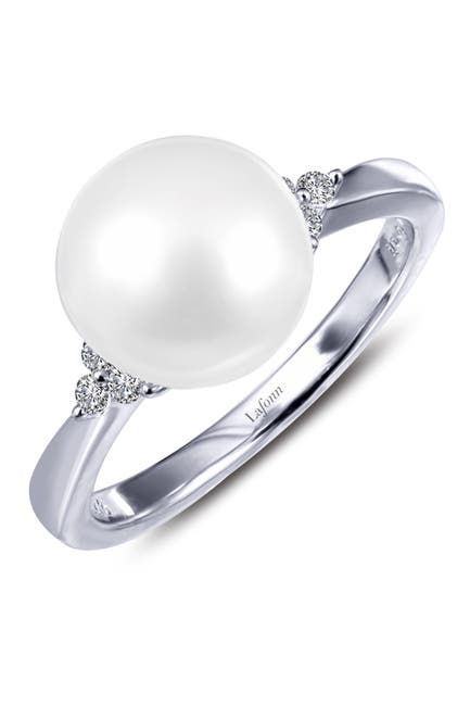 Image of LaFonn Platinum Plated Sterling Silver Simulated Diamond & 7.95mm Freshwater Pearl Ring