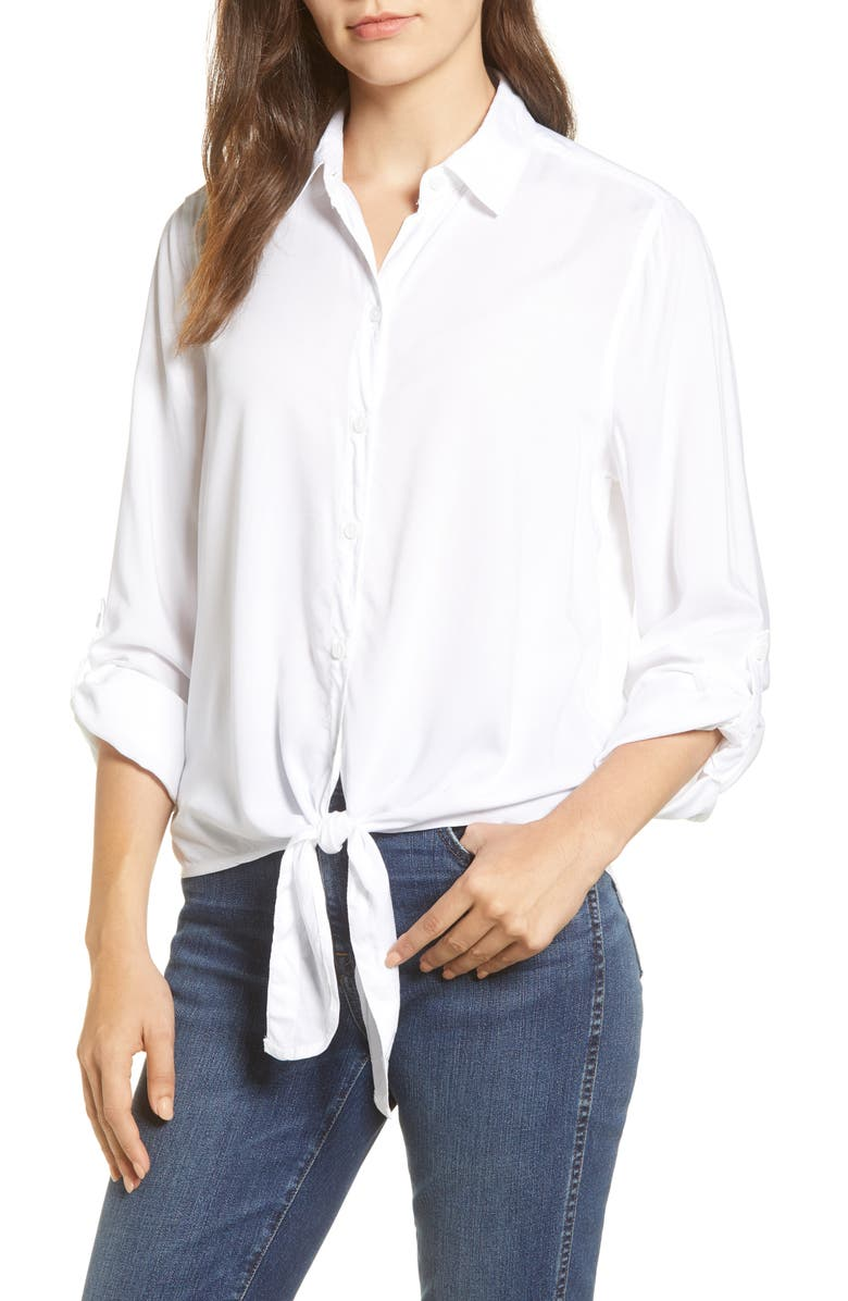 BEACHLUNCHLOUNGE Yumi Tie Front Rayon Top, Main, color, WHITE