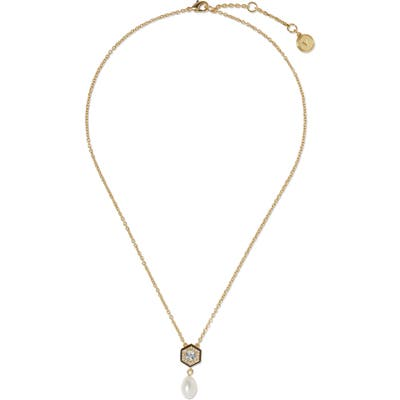 Vince Camuto Freshwater Pearl & Crystal Pendant Necklace