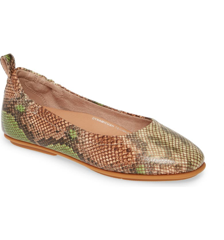 FITFLOP Allegro Snake Print Ballet Flat, Main, color, LIME GREEN LEATHER