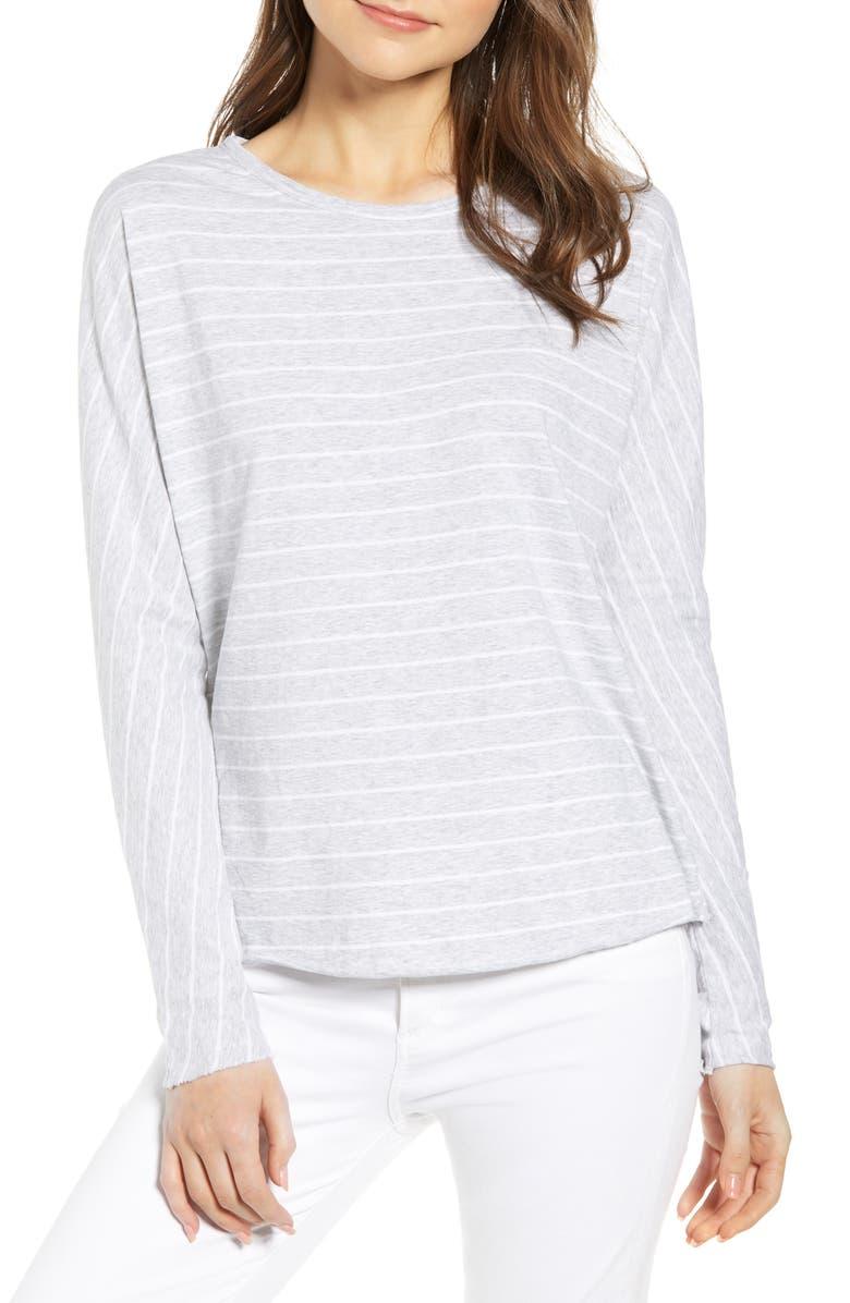 FRANK & EILEEN Tee Lab Core Long Sleeve Tee, Main, color, GRAY W/ WHITE MELANGE STRIPE