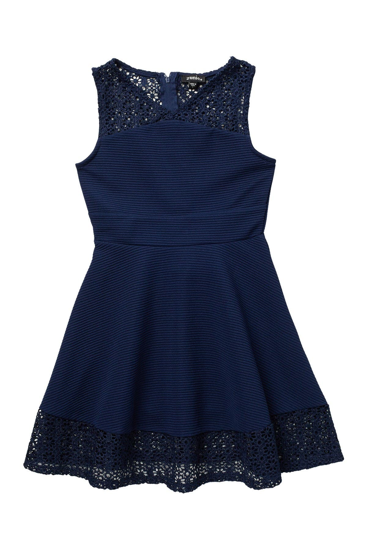 Image of Zunie Lace Trimmed Sleeveless Skater Dress