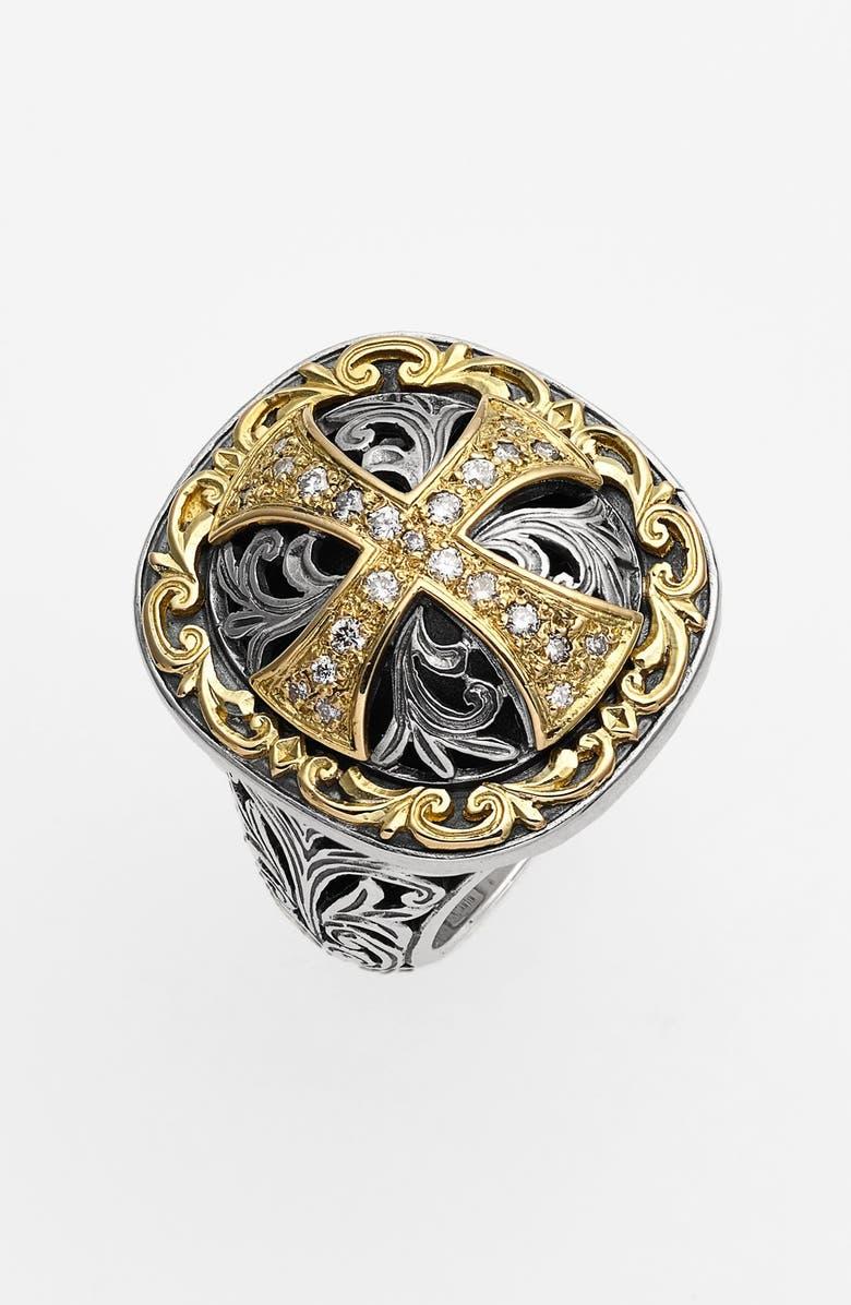 KONSTANTINO 'Diamond Classics' Diamond Cross Two-Tone Ring, Main, color, 040