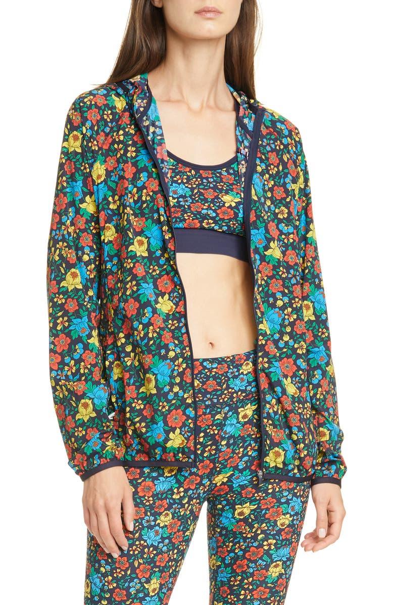 TORY SPORT Floral Print Waterproof Packable Jacket, Main, color, 400