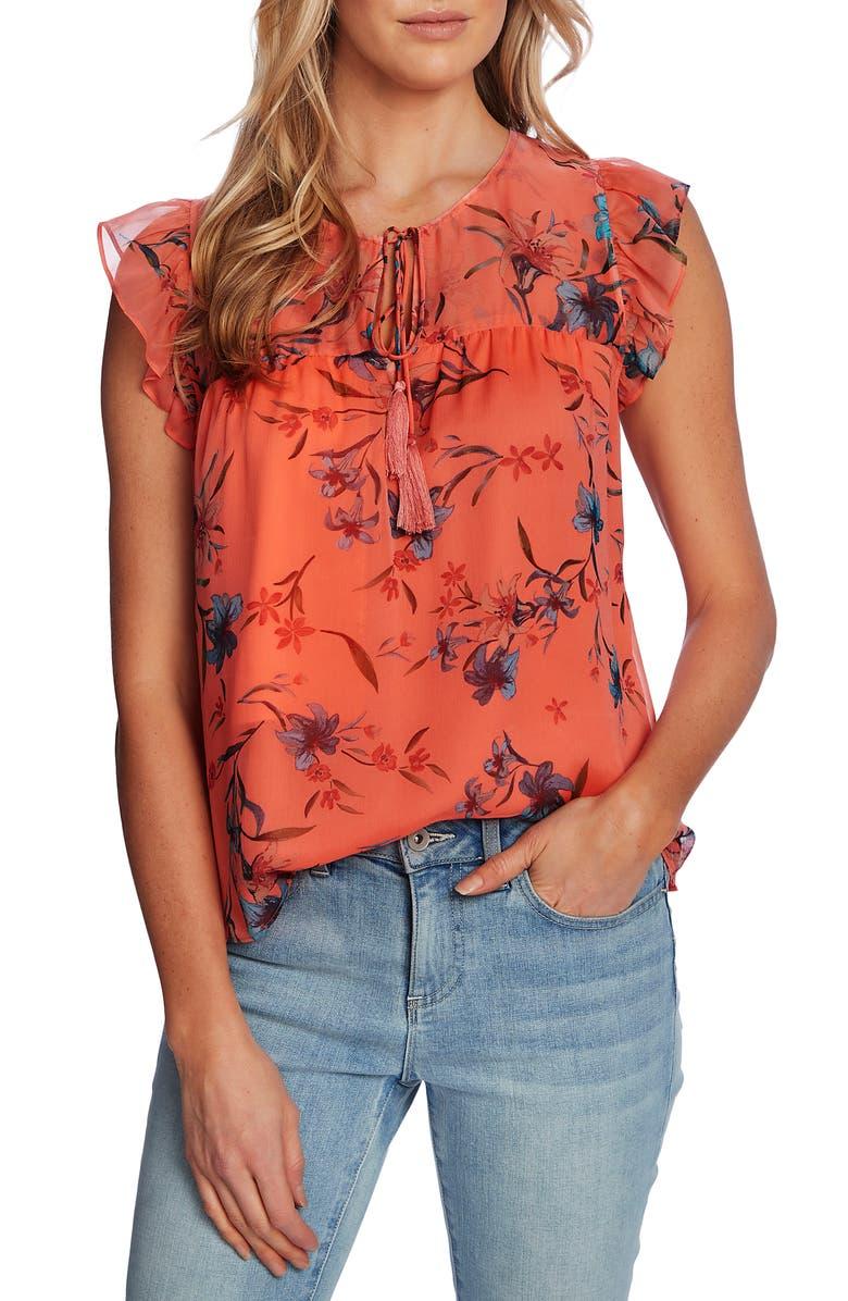 CECE Floral Flutter Sleeve Top, Main, color, HOT LAVA