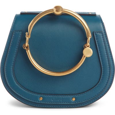 Chloe Small Nile Bracelet Leather Crossbody Bag - Blue