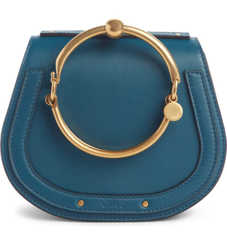 CHLOÉ Small Nile Bracelet Leather Crossbody Bag, Main, color, NAVY INK