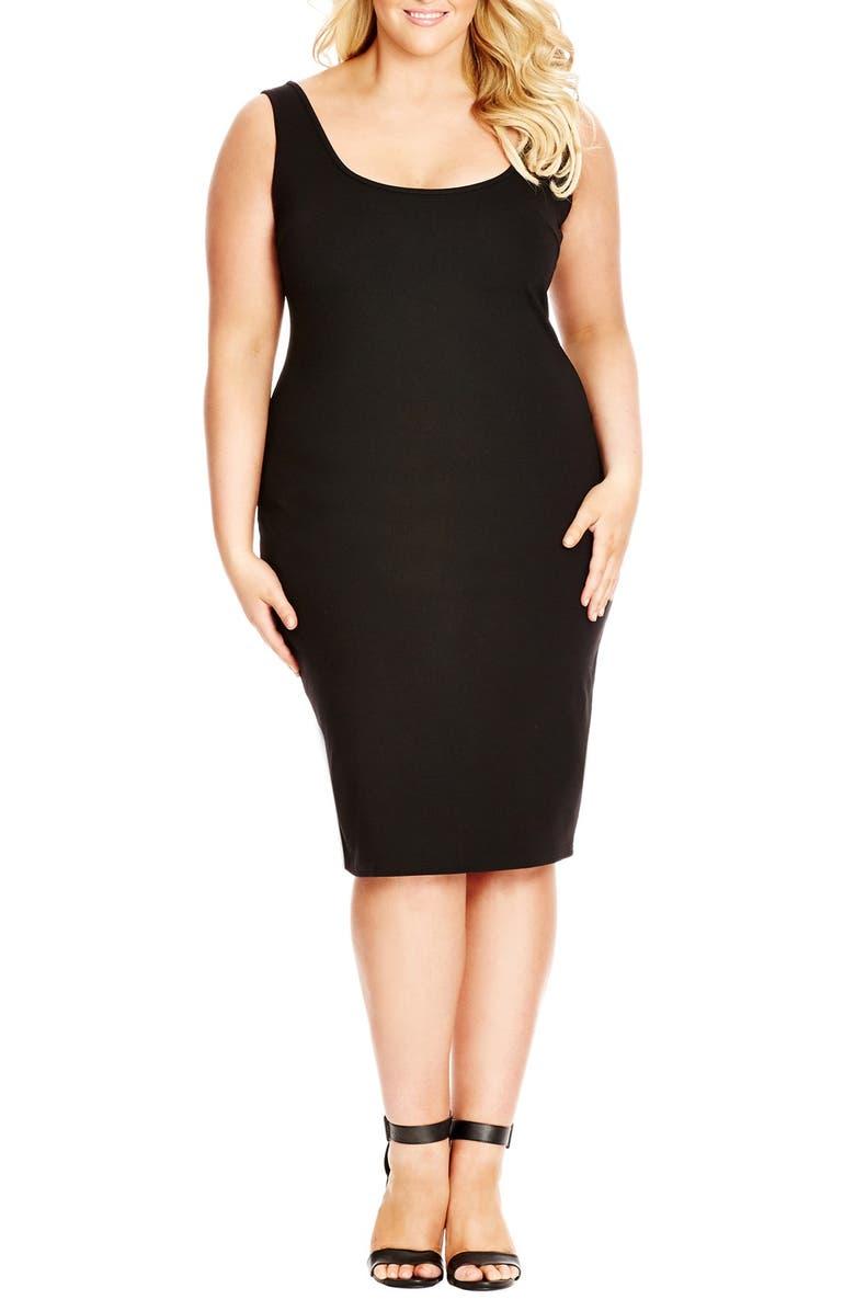 CITY CHIC Body-Con Tank Dress, Main, color, BLACK